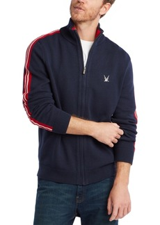 Nautica Men's Blue Sail Full-Zip Racing Stripe Sweater, Created for Macy's