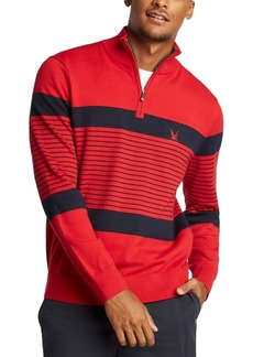 Nautica Men's Blue Sail Navtech Quarter-Zip Sweater in Engineered Stripe, Created For Macy's