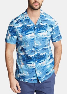 Nautica Men's Big and Tall Blue Sail Printed Camp Shirt, Created for Macy's