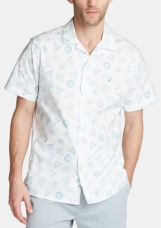 Nautica Men's Blue Sail Screenprint Camp Collar Shirt, Created for Macy's