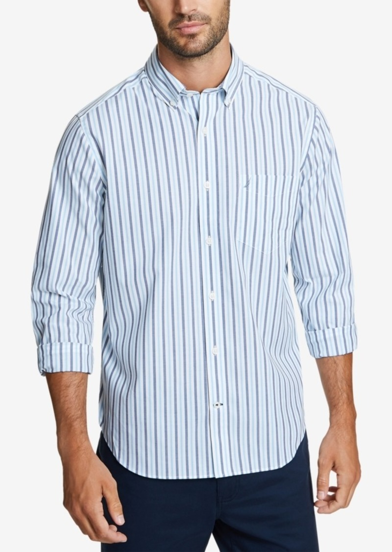 Nautica Men's Blue Striped Shirt