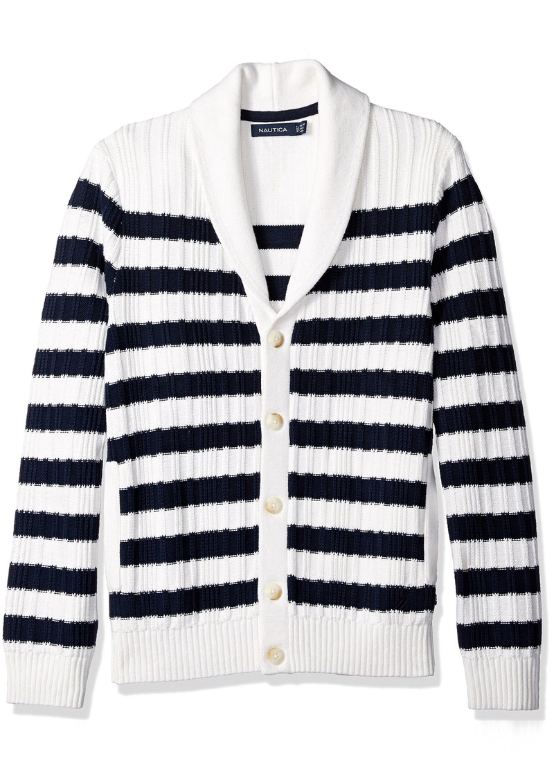 Nautica Men's Breton Stripe Cardigan  M