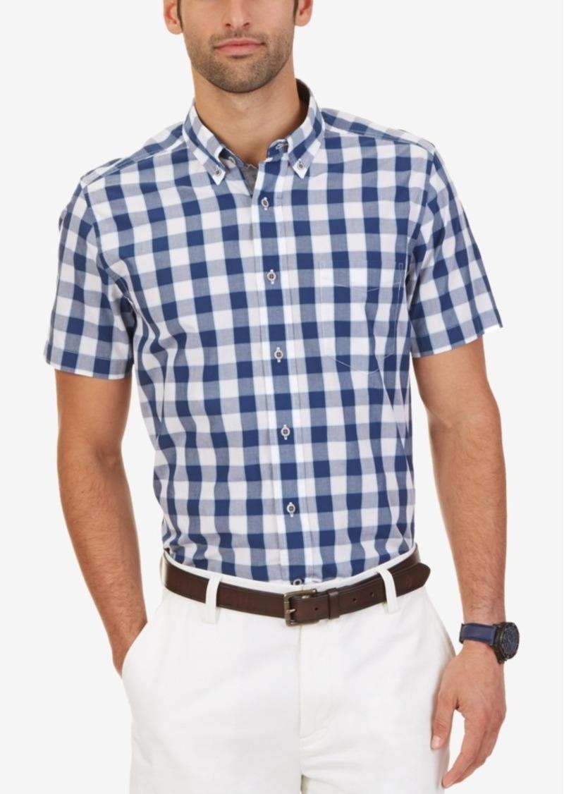 Nautica Men's Bright White Check Long-Sleeve Shirt