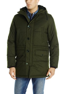 Nautica Men's Brushed Harringbone with Removable Sherpa Hood Parka  M