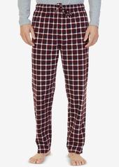 Nautica Men's Burgundy Plaid Lightweight Sueded Fleece Pajama Pants