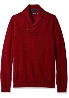 Nautica Men's Button Shawl Collar Sweater Red S