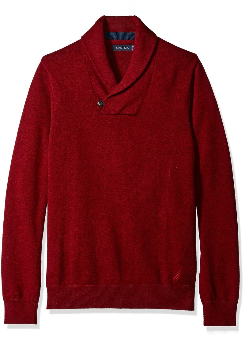 Nautica Men's Button Shawl Collar Sweater Red XL