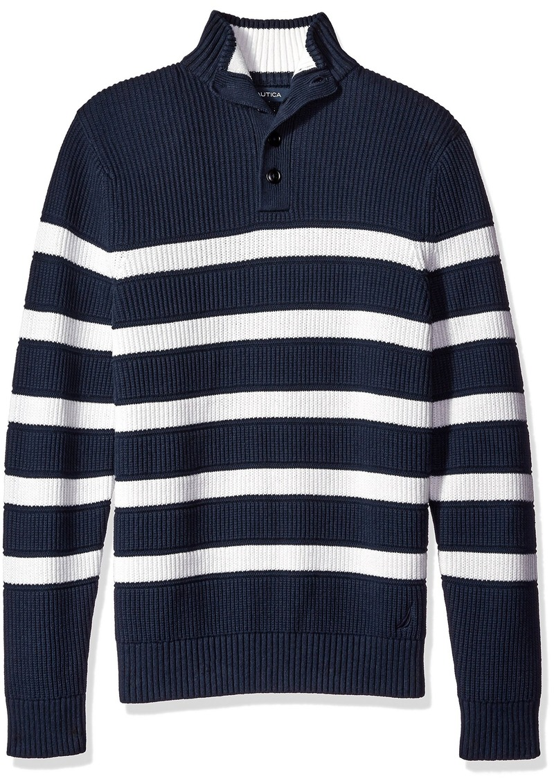 Nautica Men's Buttoned Mock Neck Breton Stripe Pullover  L