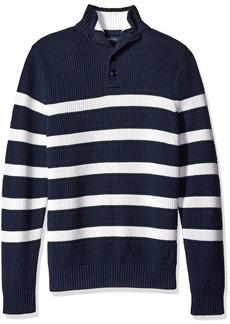 Nautica Men's Buttoned Mock Neck Breton Stripe Pullover  M
