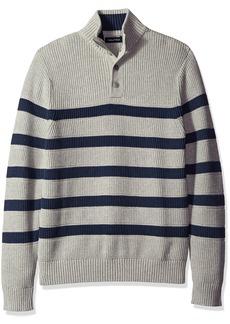 Nautica Men's Buttoned Mock Neck Breton Stripe Pullover  S