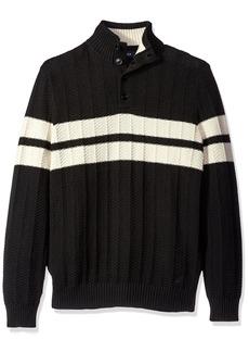 Nautica Men's Buttoned Mock-Neck Pullover  L