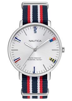 Nautica Men's Caprera Multicolored Fabric Slip-Thru Strap Watch 43mm