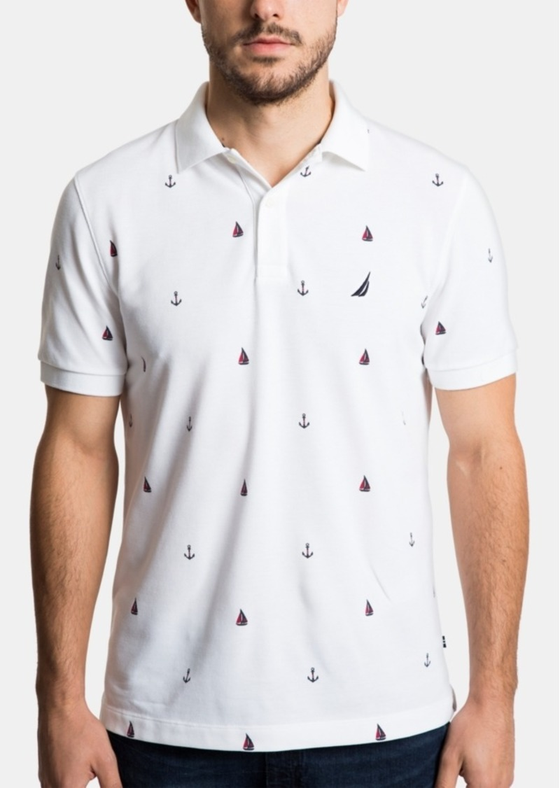 Nautica Men's Classic Fit Anchor Print Performance Deck Polo