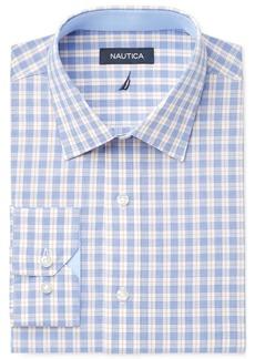 Nautica Men's Classic Fit Blue Apricot Check Dress Shirt