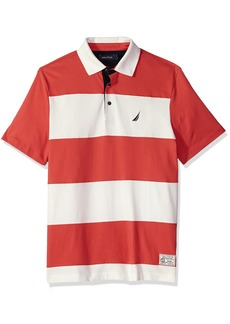 Nautica en's Classic Fit Cotton Jersey Striped Polo Shirt Sailor red edium