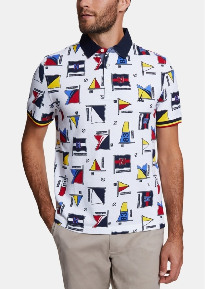 Nautica Men's Classic Fit Flag Graphic Polo