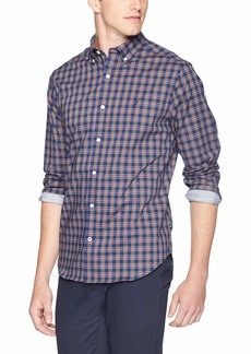 Nautica Men's Classic Fit Long Sleeve Plaid Button Down Shirt j Navy Blue