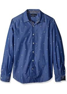 Nautica Men's Classic Fit Long Sleeve Print Pattern Button Down Shirt