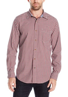 Nautica Men's Classic Fit Navy Plaid Button-Down Shirt Red