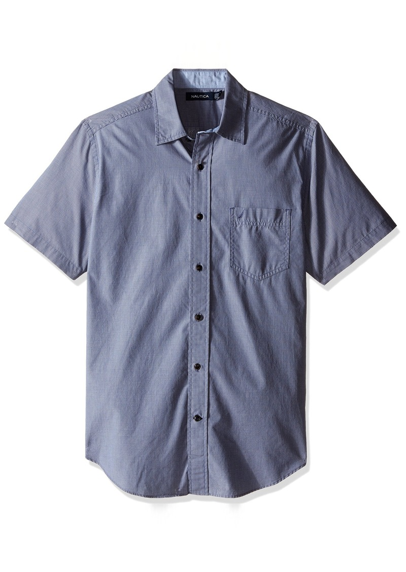 Nautica Men's Classic Fit Short Sleeve Plaid Poplin Shirt  M