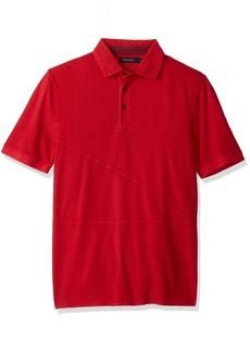 Nautica Men's Classic Fit Short Sleeve Polo Shirt with Stitching Detail Red