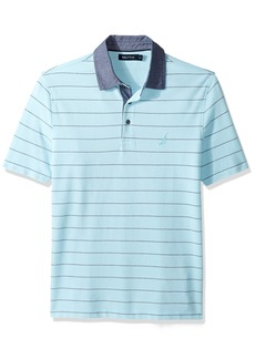 Nautica Men's Classic Fit Short Sleeve Striped Polo Shirt Bright Aqua-K72100