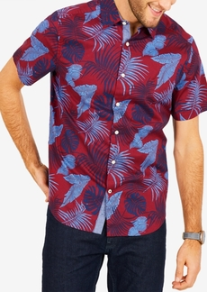 Nautica Men's Classic-Fit Stretch Palm-Print Oxford Shirt