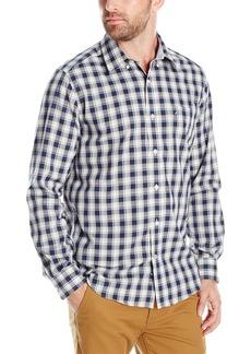 Nautica Men's Classic Fit Wrinkle Resistant Indigo Plaid Button-Down Shirt