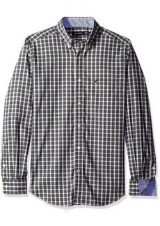 Nautica Men's Classic Fit Wrinkle Resistant Mineral Plaid Shirt  L