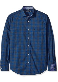 Nautica Men's Classic Fit Wrinkle Resistant True Mini Plaid Shirt  S