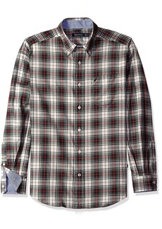 Nautica Men's Classic Fit Wrinkle Resistant Whitecap Enlarged Plaid Shirt  L