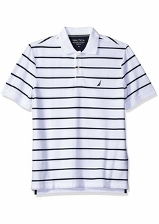 Nautica Men's Classic Short Sleeve Stripe Polo Shirt Bright White k