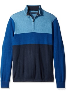 Nautica Men's Color Block Quarter-Zip Sweater  L
