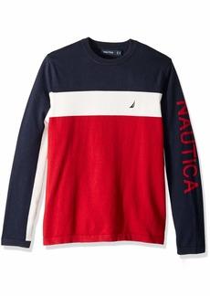 Nautica Men's Colorblocked Crewneck Sweater red