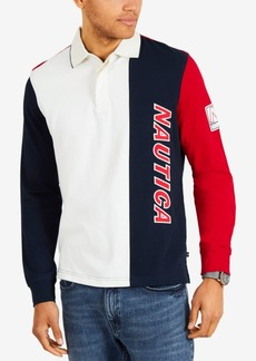 Nautica Men's Big & Tall Colorblocked Long-Sleeve Polo, Created for Macy's