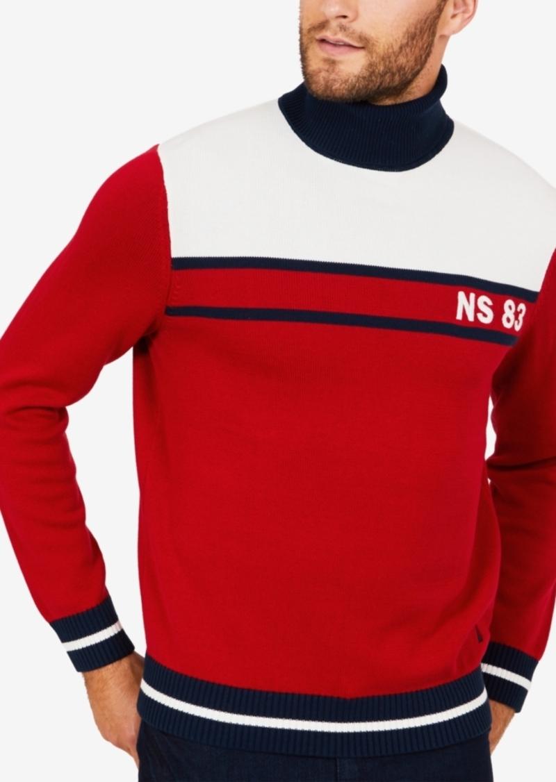 Nautica Men's Big & Tall Colorblocked Turtleneck Sweater