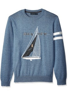 Nautica Men's Crew Neck Graphic Logo Light Weight Sweater Reactive Indigo