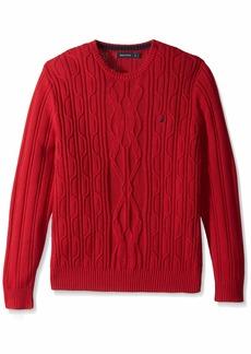 Nautica Men's Crewneck Cable Sweater red