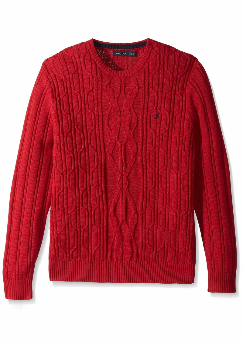 Nautica Men's Crewneck Cable Sweater red