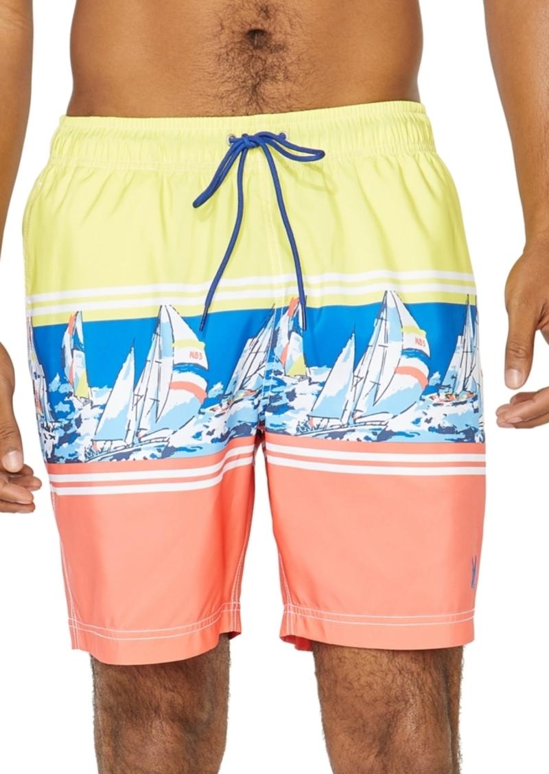 "Nautica Men's Engineered Boat Stripe 8"" Swim Trunks, Created For Macy's"