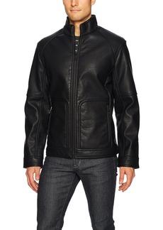 Nautica Men's Faux Leather Bonded Sherpa Jacket  L