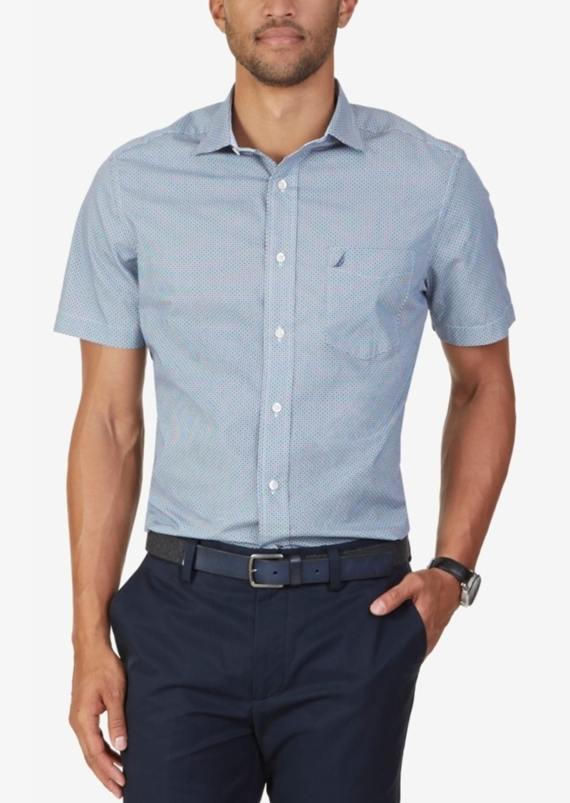 Nautica Men's Geometric Poplin Short-Sleeve Shirt