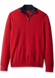 Nautica Men's Half Milano Zip with Contrast Trimming Sweater red
