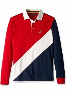 Nautica Men's Heritage Logo Long Sleeve Polo Shirt red