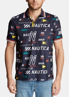 Nautica Men's Hydro Classic-Fit Moisture-Wicking Logo-Print Pique Polo