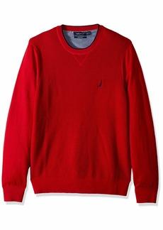 Nautica Men's Light Weight Crew Neck Solid Sweater Red