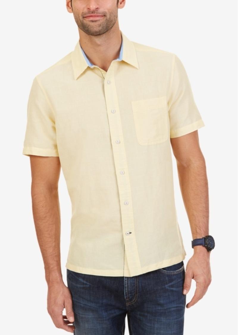 Nautica Men's Linen Slim-Fit Short-Sleeve Shirt