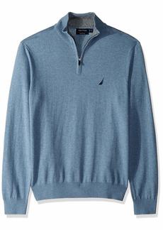 Nautica Men's Long Sleeve 1/4 Zip Sweater deep Anchor Heather