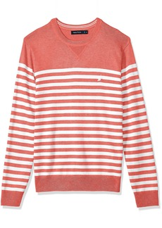 Nautica Men's Long Sleeve Bretton Stripe Crew Neck Sweater