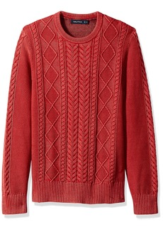 Nautica Men's Long Sleeve Cable Shawl Collar Sweater Red